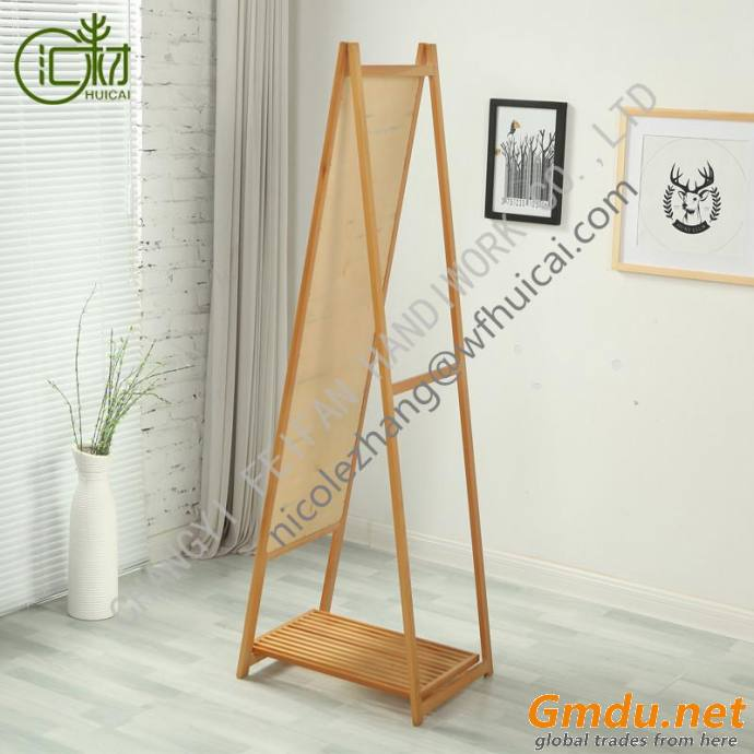 MULTIFUNCTION FLOOR MIRROR WITH SHELF AND FOLDING STORAGE