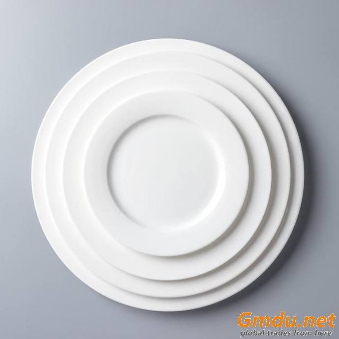 4.5-12 inch porcelain lines white plate restaurant buffet plate round white dinner plate porcelain