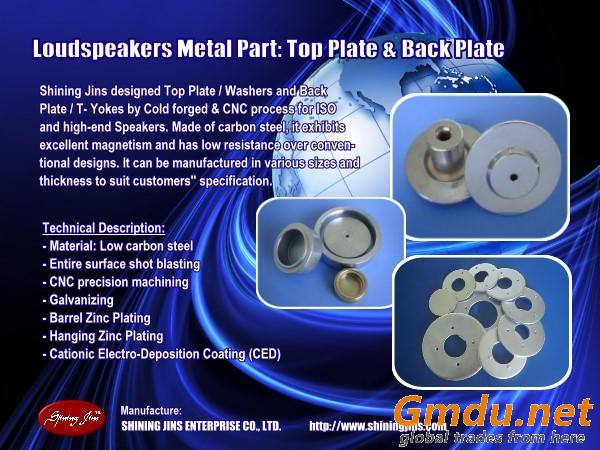 Top Plate (Washer) and Back Plate made in Taiwan