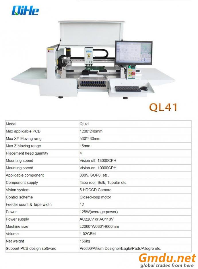 High Speed PCB Assembly QL41 LED Mounting SMT Pick And Place SMD Machine