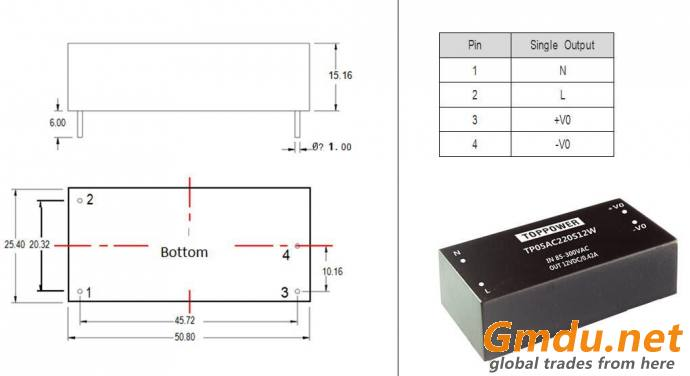 5W 4KVAC Isolation AC/DC Converters TP05AC