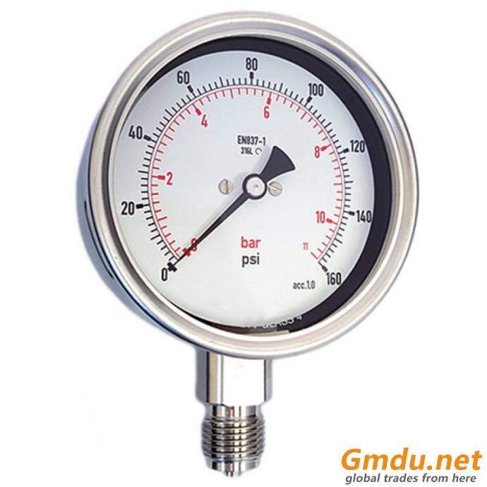 "Lead Free Pressure Gauge, 1/4"" MNPT, Gauge Connection Location: Bottom"