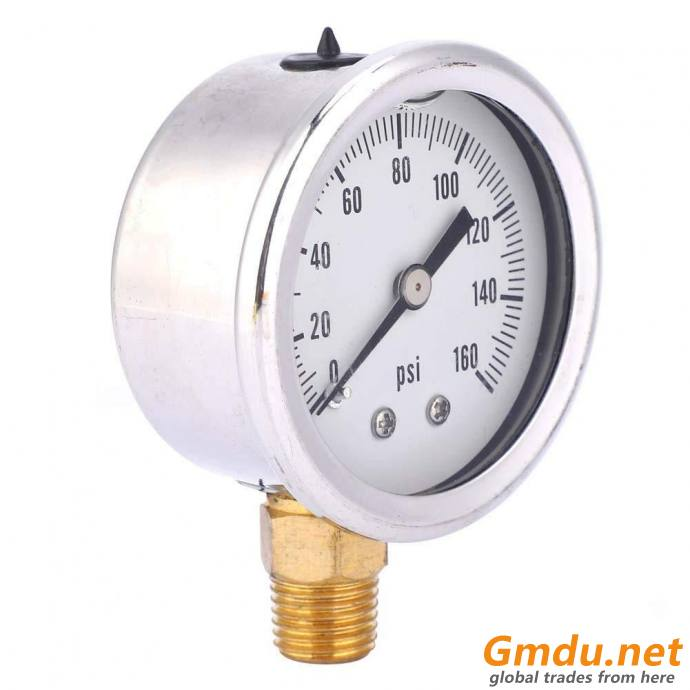 "General Purpose Pressure Gauge, 1/4"" MNPT, Gauge Connection Location: Bottom"