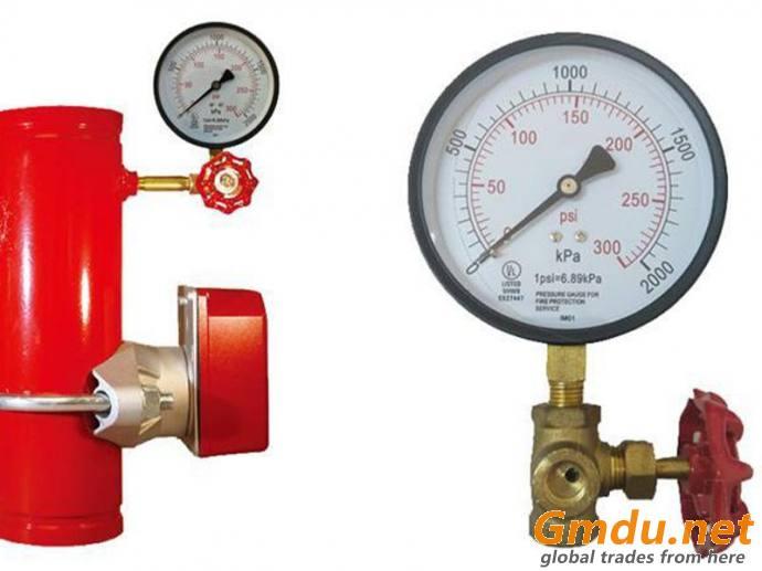 """Fire Sprinkler Systems Pressure Gauge, 1/4"""" MNPT, Gauge Connection Location: Bottom"""