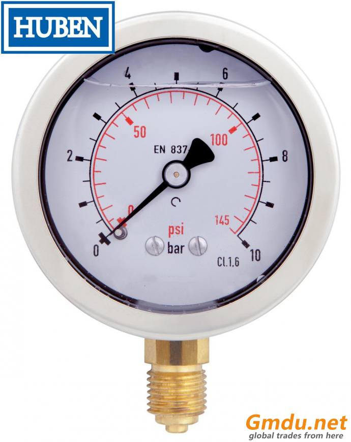 "Lead Free Vacuum Gauge, 1/4"" MNPT, Gauge Connection Location: Bottom"