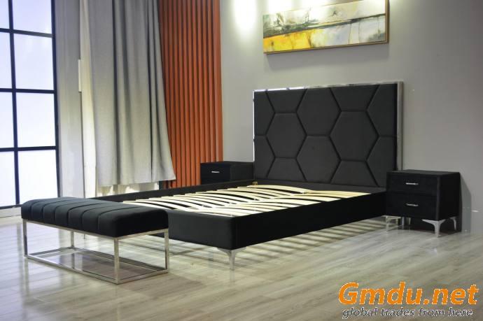 Modern Luxury Velvet Upholstered Bed