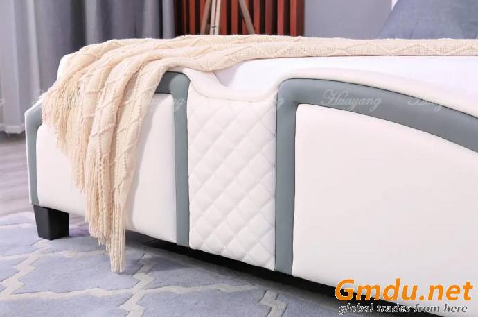 European Style Leather Platform Bed