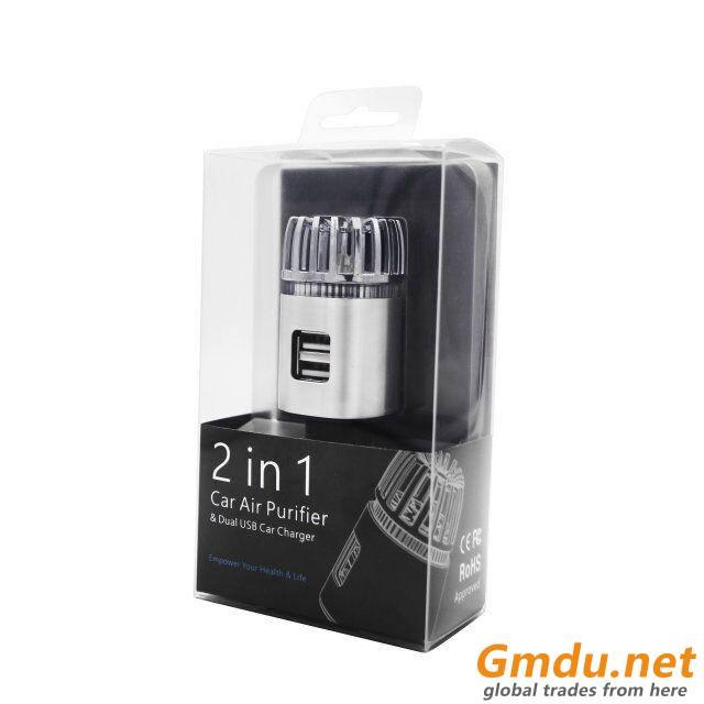 Dual USB Charger Port Mini Portable Car Air Purifier JO-6291