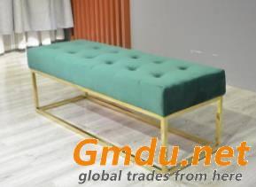 Gold Leg Velvet Bench