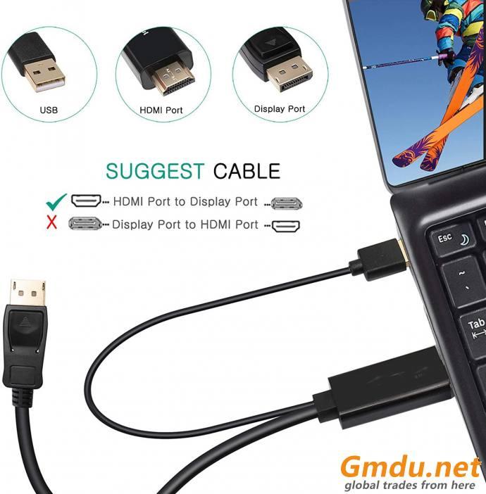 HDMI to DisplayPort 4K 2M USB Power