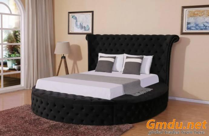 Elegant Round Velvet Bed