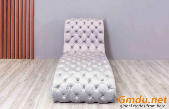 Button Tufted Armless Chaise Lounge with Trimmed Nailhead