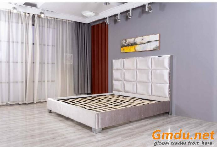 Linear Fabric Bed Frame Upholstery Square Panels