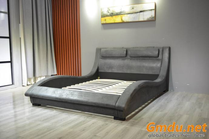 Wave Design Upholstered Bed Faux Leather King Bed