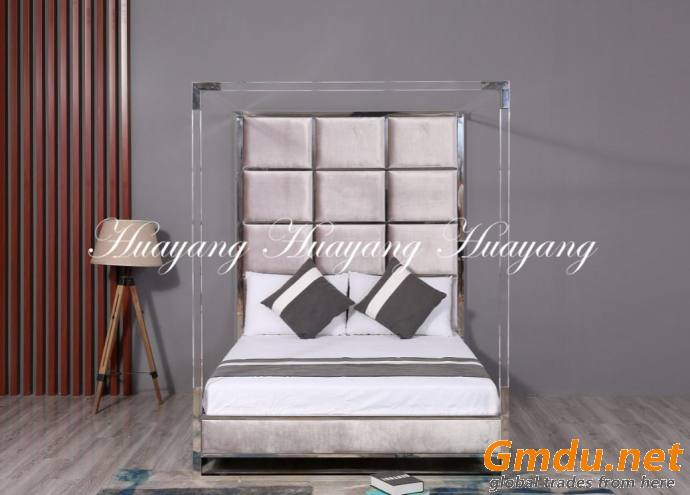 Home Furniture Set Vluxury Stainless Steel Upholstery Bed Furniture