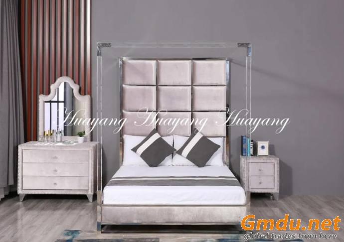 Luxury Stainless Steel Upholstery Bed