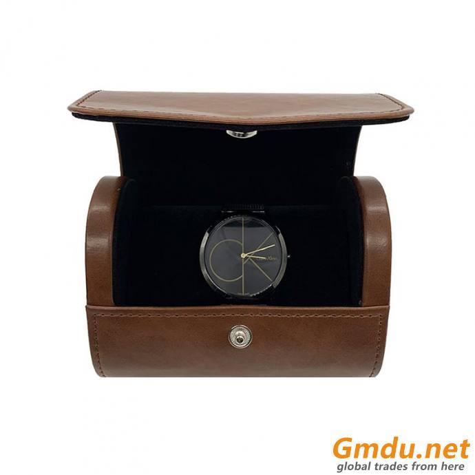 Custom brown PU Leather watch box for jewelry