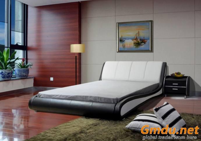 Wave like Leather Bed Modern Upholstered Platform Bed
