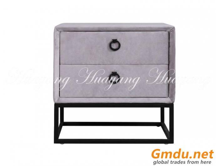 2 Drawers Nightstand Velvet Side Bed Table