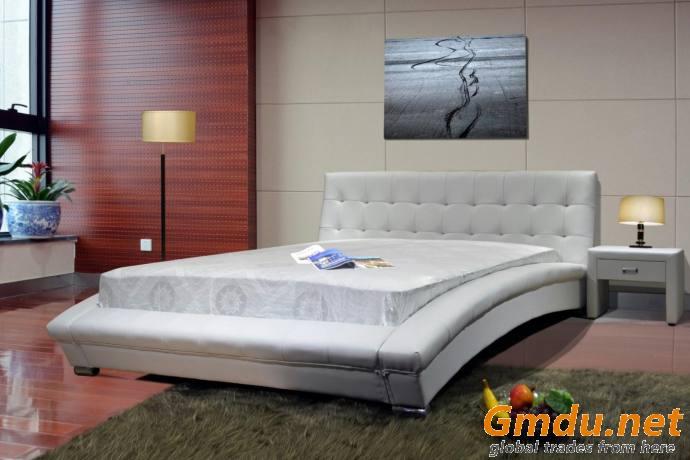 Upholstered PU Bed Frame Platform Bed Arched Rail