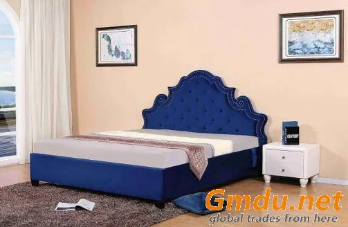 European Luxury Style Modern Bed Fabric Bedroom Double Bed Big Size Bed Furniture