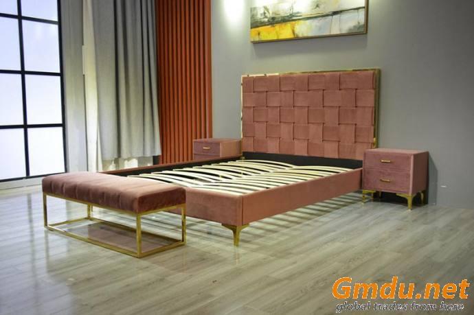 Platform Bed Woven Headboard Bedroom Furniture