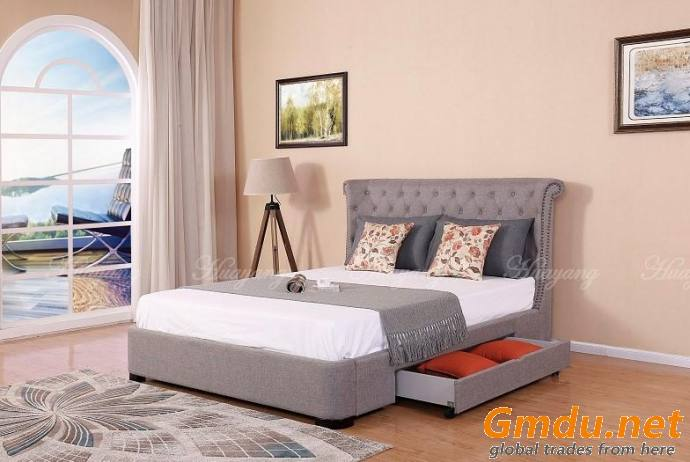 Upholstered Storage Wingback Bed