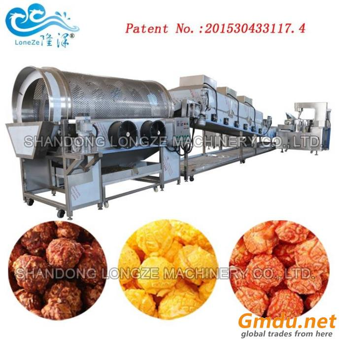 Automated Big Capacity Continuous Oil-popping American Mushroom Caramel Popcorn Production Line
