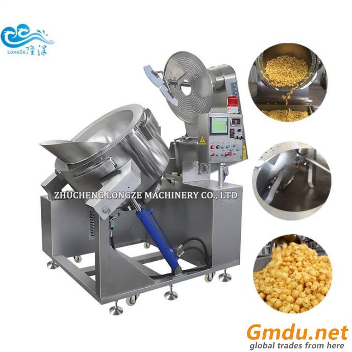 60kg Per Hour Big Capacity automatic Industrial Popcorn Machine Kettle Corn Prodution Line Price