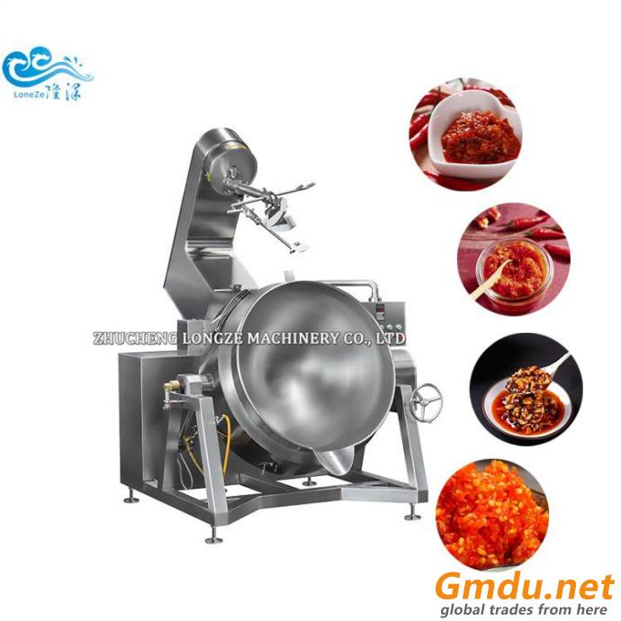 Stainless Steel Gas Heating Industrial Large Sauce Cooking Pots With Mixer
