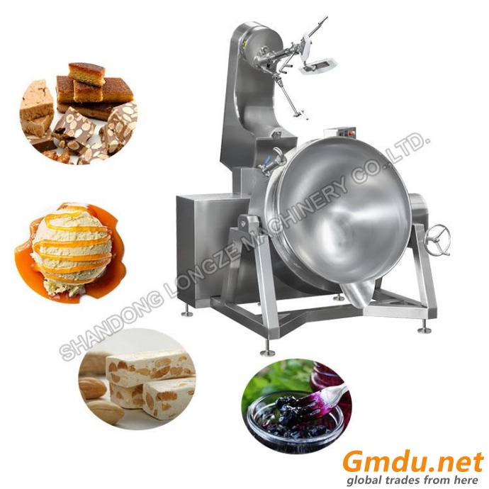 Vertical High Capacity Durable Industrial Gas Heating Automatic Stir Cooking Mixer Machine