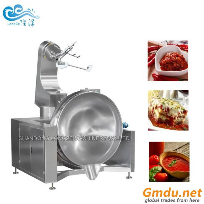 Tilting Steam-heating Jacketed Mixing Kettle/Cooking Mixer Machine With Scraper And Agitator