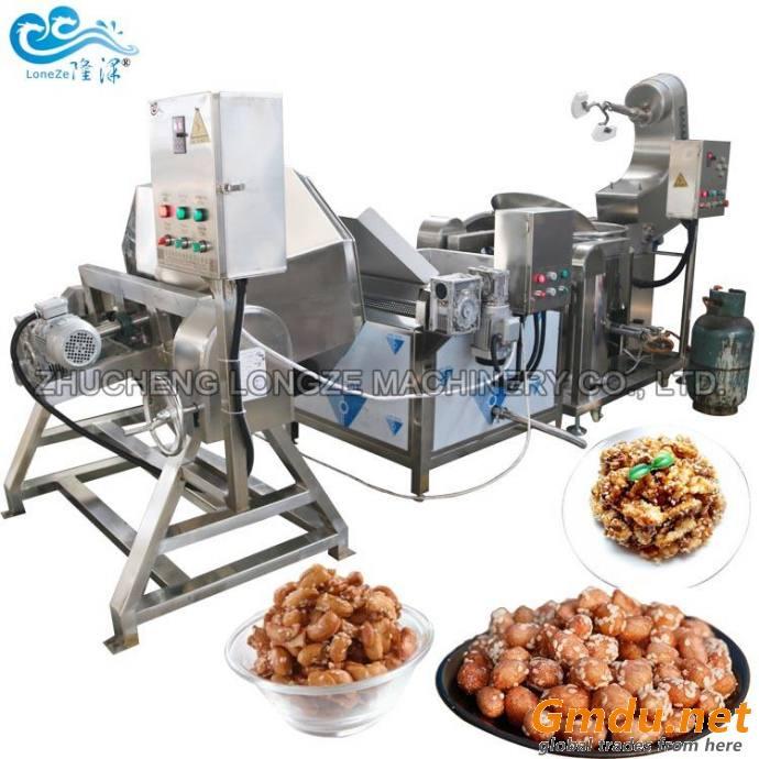 Industrial Honey Coated Peanut Cashew Nuts Walnuts Almond Making Roasting Frying Processing Coating Machine