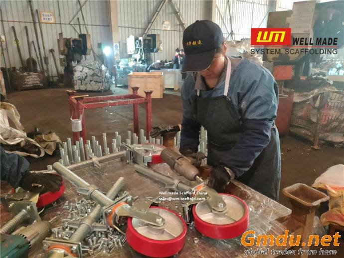 Heavy Duty Adjustable Caster Wheel With Screw Tube PU Iron Wheels