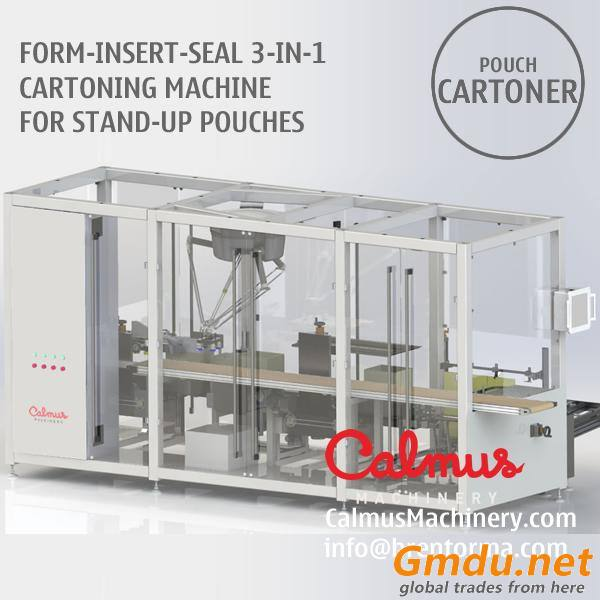 Form-Insert-Seal Monoblock Case Packer Cartoning Machine for Stand-Up Pouches