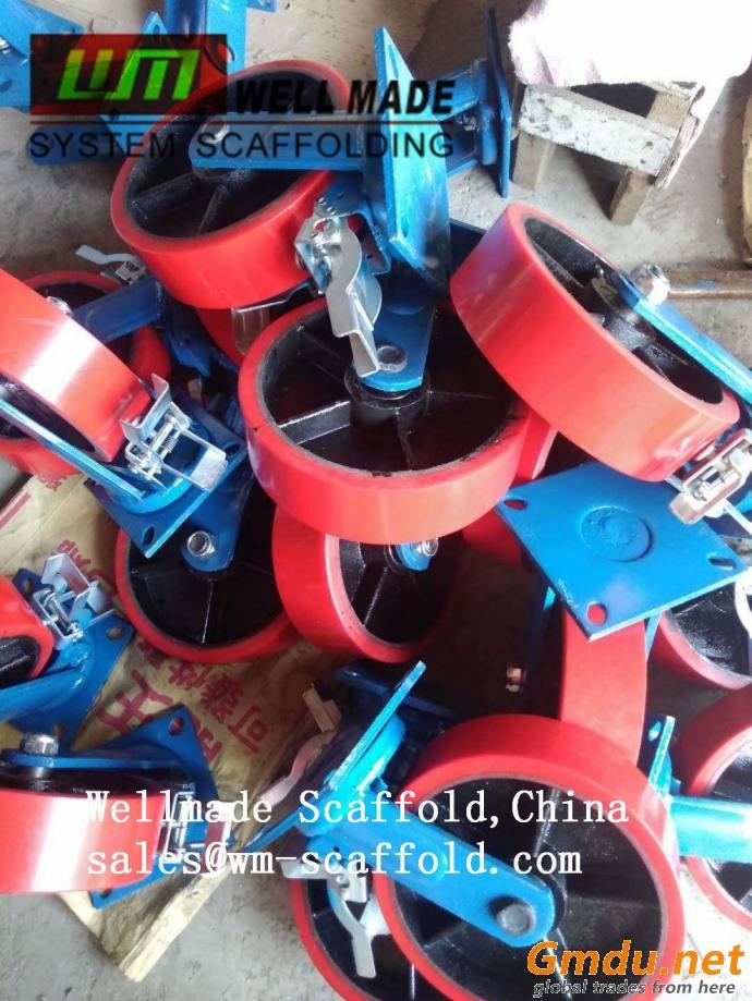 Mobile Scaffolding Caster Wheel Double Brake PU/Rubber Heavy Duty Construction Wheels