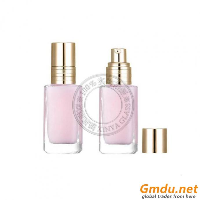square 30ml foundation glass bottle lotion concealer UV proof cosmetic packing