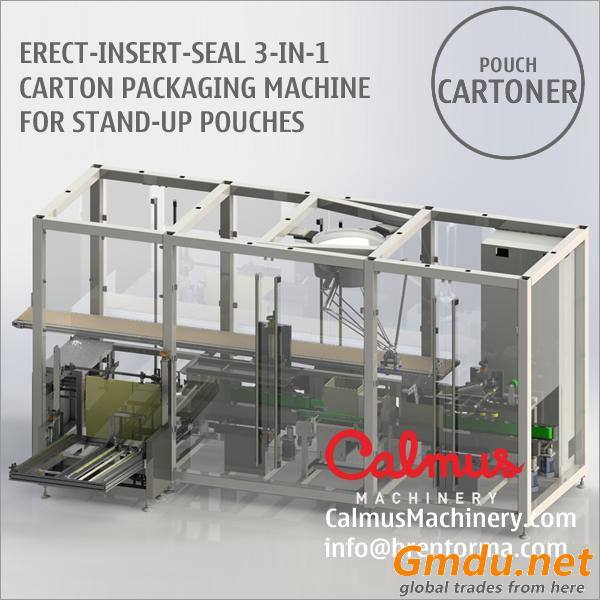 Erect-Insert-Seal 3-in-1 Carton Box Packaging Machine for Packing Stand Up Pouch