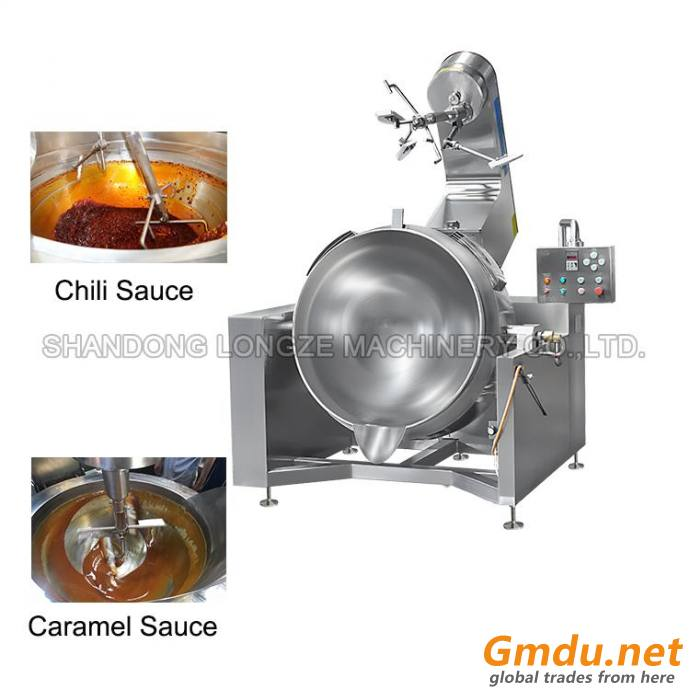 Industrial Automatic Cooking Kettle Mixer Machine Cooking With Gas Heating For Hot Sauce