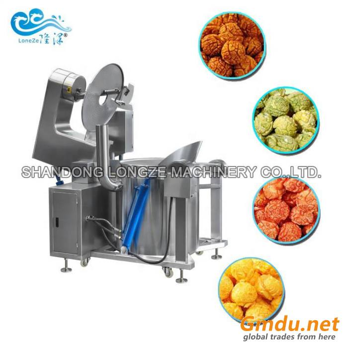 CE Approved Big Capacity Automatic Commercial Caramel Flavored Gas Popcorn Machine Industrial Popcorn Production Line