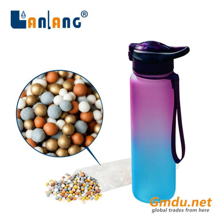 Large capacity protable sports alkaline water bottle with straw