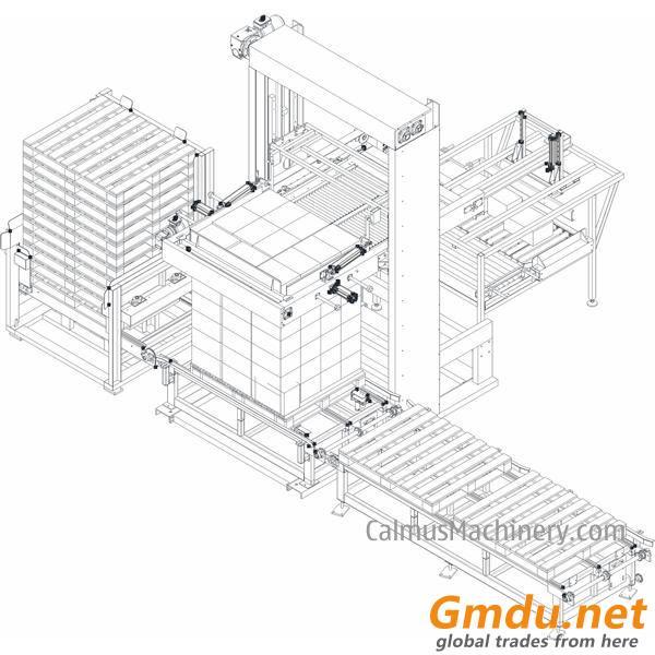 Push-Type Shrink Wrap Palletizing Machine Carton Box Palletizer