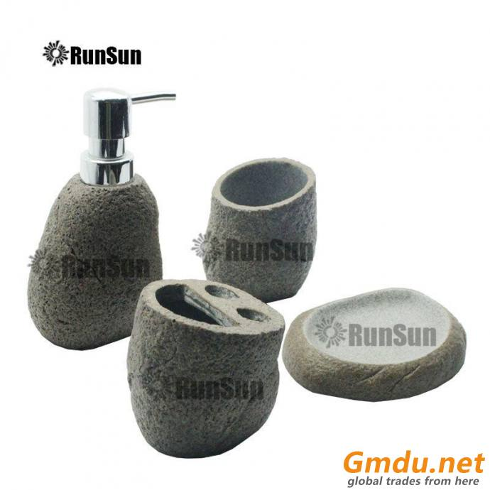 Stone Style Bathroom Accessory Sets Polyresin