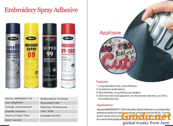 Repositionable embroidery spray adhesive for applique work