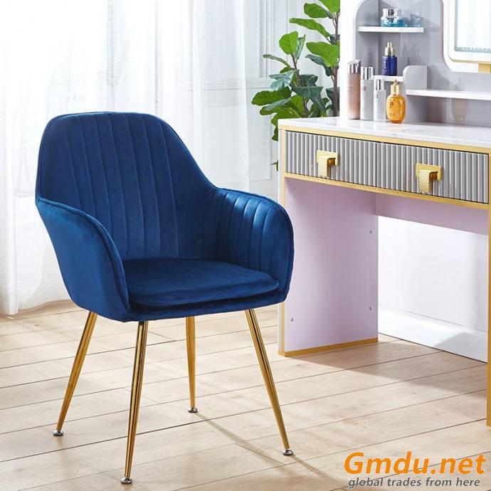 velvet armrest blue dining chair