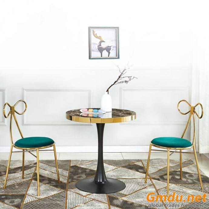Butterfly-shaped golden leg dining chair