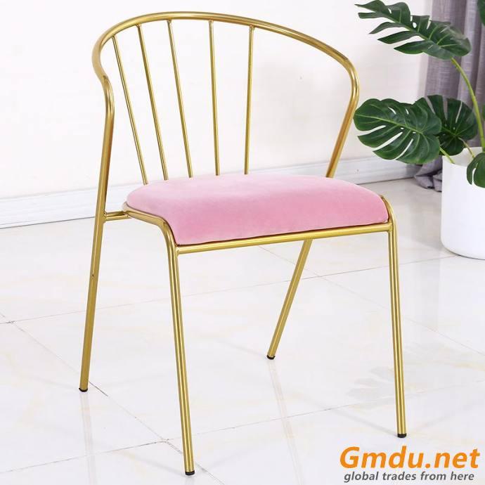 Pink velvet fabric dining chair