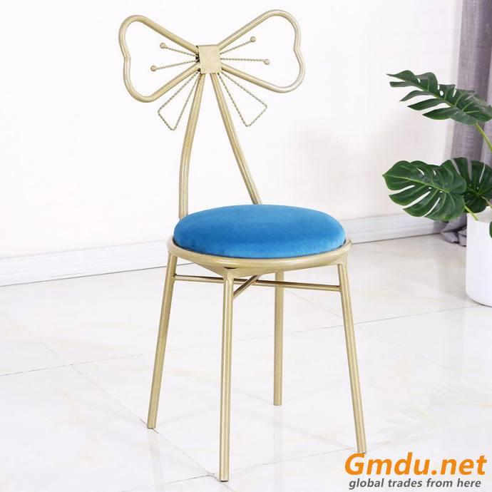 Blue velvet fabric dining chair