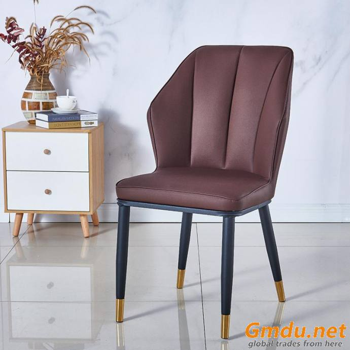 Brown Leather Golden Dining Chair