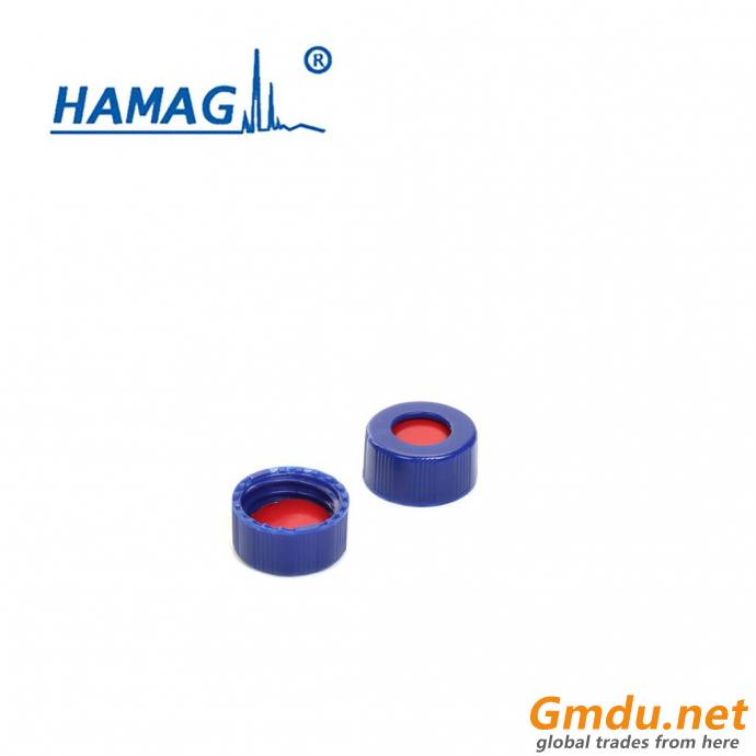 Blue open-topped polypropylene cap and white PTFE/red Silicone septa